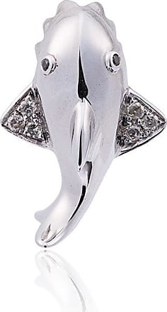 Or Blanc 18 Carats Et Diamants Mini-stud Lon Yvonne Requin MPyeu
