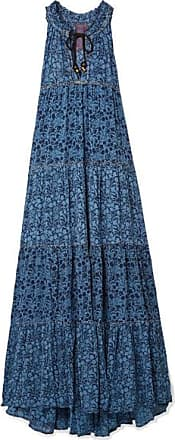 Tiered Floral-print Georgette Maxi Dress - Blue Yvonne Sporre uKpDjAPzt