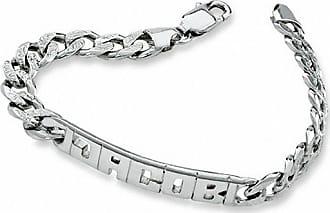 Zales Mens Nameplate ID Bracelet in Sterling Silver (8 Letters) 4EOix2og1