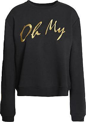 Zoe Karssen Woman Metallic-trimmed Embroidered Terry Sweatshirt Black Size S Zoe Karssen 2018 New Cheap Price Free Shipping With Paypal Clearance In China Amazon Cheap Price 3S3hNnLmt