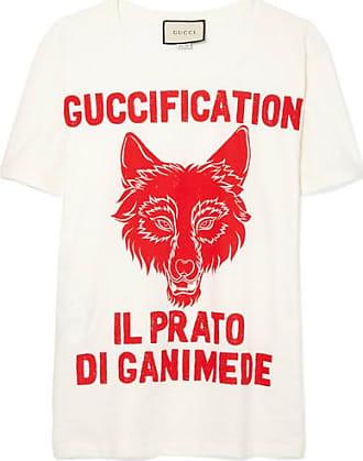 Bedrucktes T-shirt Aus Baumwoll-jersey Mit Batikmuster - Hellgrau Gucci XZwTIdp