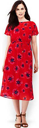 Gemustertes Crêpe-Kleid in Midilänge in Petite-Größe - Rot - 34 von Lands End Lands End