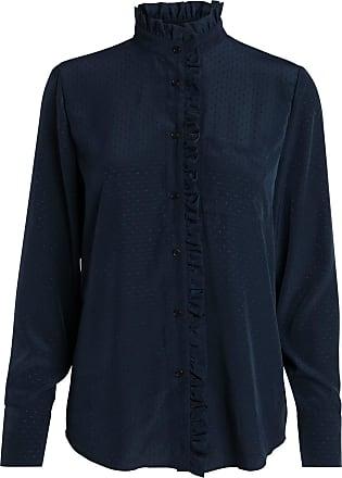 Gepunktete Stehkragen Hemd Dames Blauw Pieces iw6G6V8