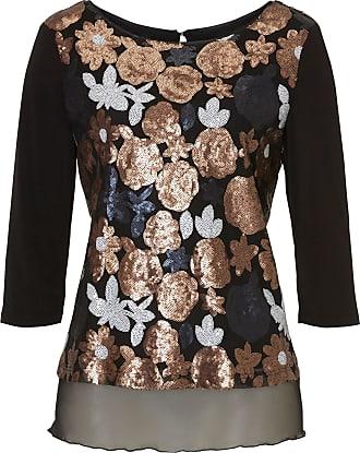 Bluse, für Frauen, Black / Beige, L: 68 cm, Lässig Stil, Pailletten, 3/4 Arm Vera Mont