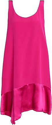 3.1 Phillip Lim Woman Asymmetric Paneled Silk-satin And Crepe Top Fuchsia Size 0 3.1 Phillip Lim