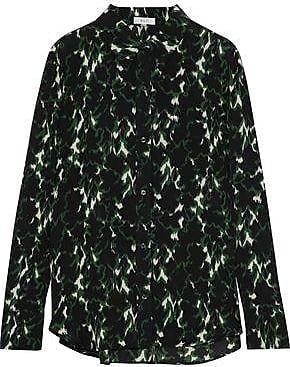 A.l.c. Woman Printed Silk Crepe De Chine Shirt Emerald Size 10 A.L.C.