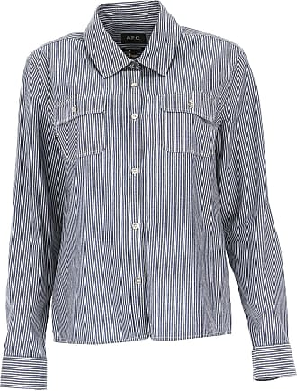 A.p.c. Woman Metallic Striped Woven Silk-blend Shirt Ecru Size 36 A.P.C.