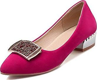 VogueZone009 Damen Lackleder Niedriger Absatz Spitz Zehe Rein Ziehen auf Pumps Schuhe, Pink, 40