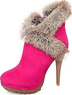 AgooLar Damen Hoher Absatz Poliert Spitz Zehe PU Leder Ziehen auf Stiefel, Rosa, 42