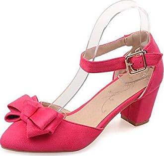 AgooLar Damen Eingelegt Mattglasbirne Mittler Absatz Spitz Zehe Pumps Schuhe, Rosa, 32