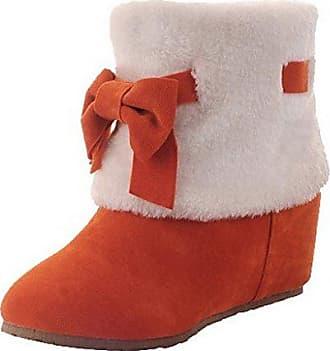 AgooLar Damen Ziehen auf Mittler Absatz Mattglasbirne Gemischte Farbe Rund Zehe Stiefel, Orange, 35
