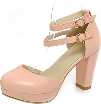 Aisun Damen Elegant Lackleder Strass Peep-Toe Plateau Sandalen Pink 39 EU