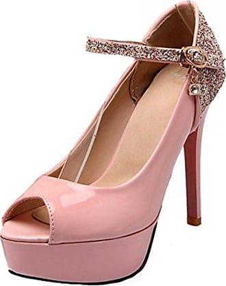 SHOWHOW Damen Sexy Peep Toe Plateau Cut Out High Heels Römersandalen Pink 35 EU