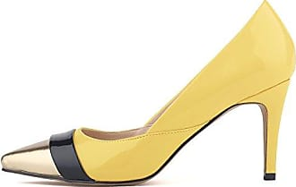 SHOWHOW Damen Runde Plateau Low Top High Heels Pumps Beige 41 EU