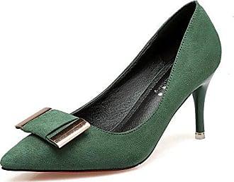 Aisun Damen Süß Schleifen Suede Slingback Cut Out Spitz Stiletto Pumps Grün 34 EU