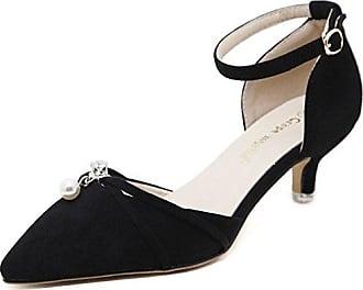 SHOWHOW Damen Suede Spitz Zehe Kitten Heels Sandalen mit Absatz Mules
