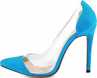 Aisun Damen Fashion Spitz Zehen High Heels Stiletto Transparent Pumps Blau 36 EU