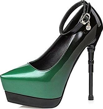 SHOWHOW Damen Nubuk Spitz Zehe High Heels Stiletto Pumps Grün 34 EU