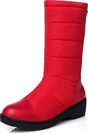 Easemax Damen Klassisch Langschaft Overknee Stiefeletten Mit Blockabsatz Rot 38 EU