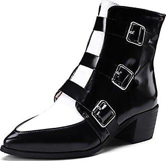 Aisun Damen Kunstleder Perlen Kurzschaft Blockabsatz Reißverschluss Chelsea Boots Stiefel Grau 35 EU