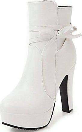 SHOWHOW Damen Schnürstiefeletten High Heels Biker Boots Weiß 35 EU