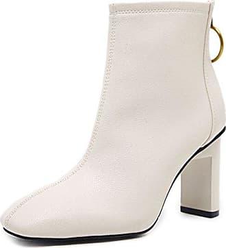 SHOWHOW Damen Winter Kurzschaft Stiefel Mit Absatz Weiß 34 EU
