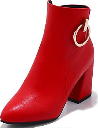 SHOWHOW Damen Gefüttert High Heels Kurzschaft Stiefel Mit Absatz Schwarz 33 EU