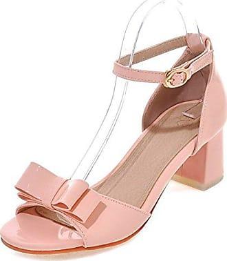 Aisun Damen Elegant Lackleder Strass Perlen Toe Open Plateau Blockabsatz Sandalen Pink 33 EU