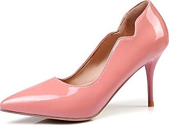 SHOWHOW Damen Lack Kunstleder Spitz Stiletto Pumps Pink 38 EU
