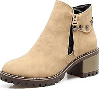 Aisun Damen Blockabsatz Plateau Chelsea Boots Nubukleder Kurzschaft Stiefel Schwarz 33 EU