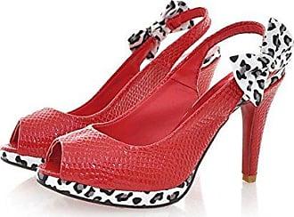Aisun Damen Mode Schleifen Leoparden Plateau Peep Toe Stiletto Slingback Sandalen Schwarz 37 EU