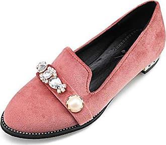SHOWHOW Damen Bequem Flach Glitzer Loafers Sneakers Schwarz 38 EU