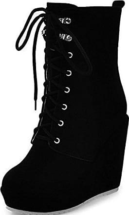 RAZAMAZA Damen Knochelriemchen Schuhe Plateau Stiefeletten Keilabsatz (32 As, Black)