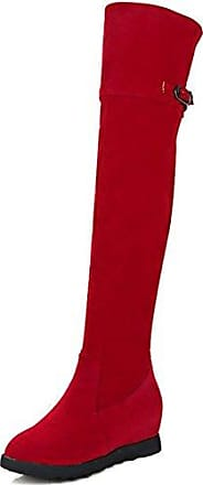 Aisun Damen Runde Zehen Unsichtbare Keilabsatz Schnalle Elastisch Overknee Langschaft Stiefel Rot 36 EU