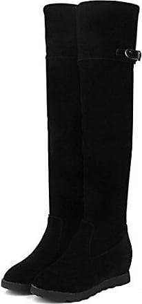 Aisun Damen Runde Zehen Plateau Blockabsatz Martin Boots Sexy Overknee Langschaft Stiefel Schwarz 41 EU