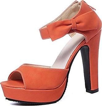 Aisun Damen Schleife Peep Toe Plateau Zipper Sandale Beige 34 EU