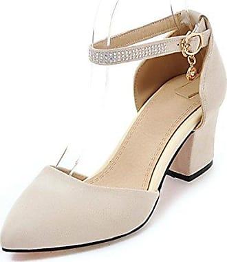 SHOWHOW Damen Süß Schleife Geschlossen Cut Out Pumps Sandale Mit Schnalle Beige 35 EU
