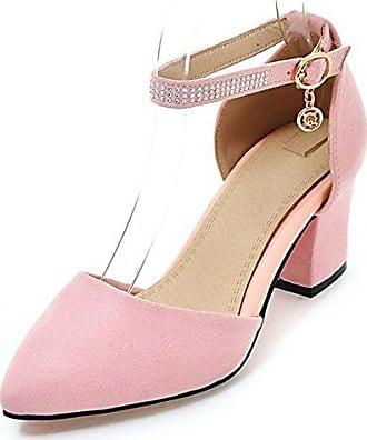 SHOWHOW Damen Blume Prinzessin Stiletto High Heels Sadalen mit Knöchelriemchen Pink 35 EU