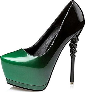Aisun Damen Fashion Spitz Zehen High Heels Stiletto Transparent Pumps Grün 39 EU