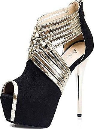 Aisun Damen Sexy Peep Toe Plateau Stiletto Hollow Out Pumps Sandale Mit Knöchelriemchen Schwarz 38 EU