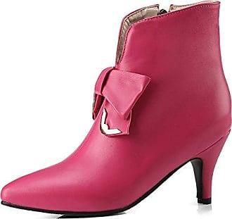 SHOWHOW Damen Plateau Gefüttert High Heels Kurzschaft Stiefel Mit Absatz Pink 42 EU