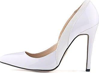 Aisun Damen Spitze Zehe Pailletten Modisch Sexy Braut Kitten Heels Pumps Weiß 38 EU
