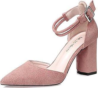 SHOWHOW Damen Niedrig Blockabsatz Rund Zehen Sandalen mit Schnalle Pink 34 EU