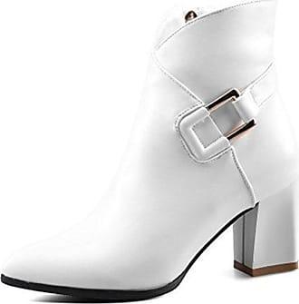 SHOWHOW Damen Süß Schleife High Heels Blockabsatz Kurzschaft Stiefel Beige 34 EU
