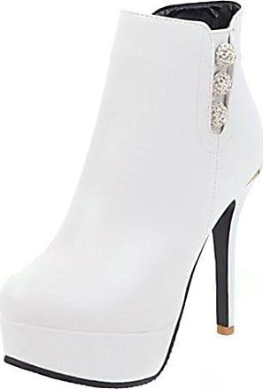 Aisun Damen Schnallen Reißverschluss Stiletto Stiefelette Ankle Boots Weiß 37 EU