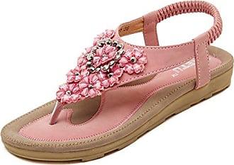 Aisun Damen Perlen Faltbare Gummisohle Flats Übergröße Zehentrenner Pink 44 EU
