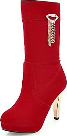Easemax Damen Schick Mode Langschaft Overknee High Heels Stiefel Mit Absatz Rot 39 EU