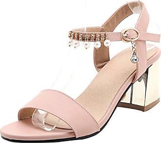 SHOWHOW Damen Strass Geschlossen Pantoffeln High Heels Sandalen Beige 32 EU