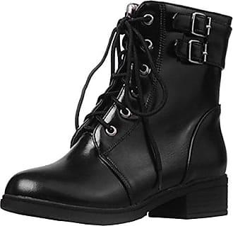 AIYOUMEI Damen Chunky Heel Stiefeletten mit Schnürung und 5cm Absatz Herbst Winter Kurzschaft Stiefel