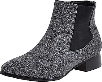 AIYOUMEI Damen Flach Stiefeletten mit Nieten und Kunstfell Plateau Ankle Boots Winter Kurzschaft Stiefel